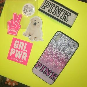 PINK iPhone X Case w/free stickers